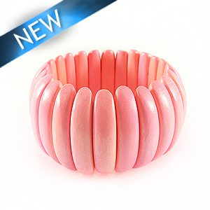 Bleach white wood bracelet Coral 10x47mm