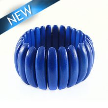 Bleach white wood bracelet Dark blue 47mm