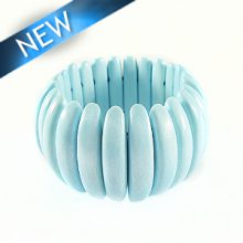 Bleach white wood bracelet Light blue 47mm