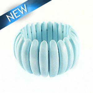 Bleach white wood bracelet Light blue 47mm