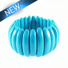 Bleach white wood bracelet Turq. blue 47mm