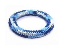 Crochet wood bangle rounded blue wholesale