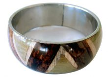 Wholesale jewelry bangle with banana bark inlay