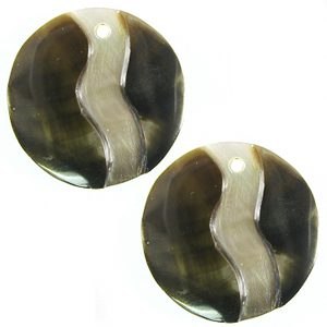 20mm round blacklip earring embossed wholesale pendant