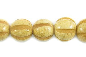 Tea-dyed bone squash design 8mm wholesale beads