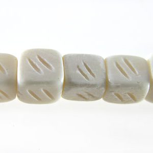 White carved bone cube 5mm wholesale beads