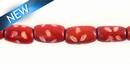 "Dyed bone tube Red ~8"" wholesale beads"