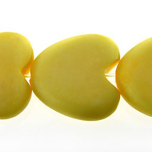 Pastel yellow bone heart 15mm wholesale beads