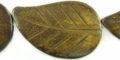 Burnt horn leaf 26x42mm wholesale beads