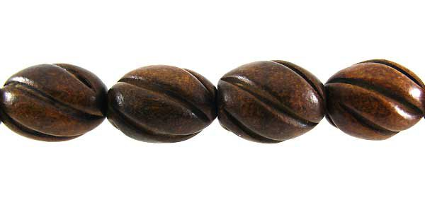 Burnt horn 12mm oval melon wholesale beads