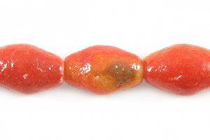 Apple coral limestone football 12x7mm wholesale beads