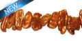 Biwa brown/copper 8x25mm center drilled wholesale beads