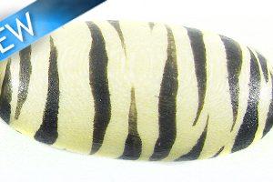 White-wood oval hand-painted zebra print