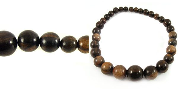 Tiger ebony graduated wood wholesale beads