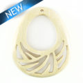 white wood carved drop pendant