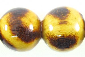 animal print burnt wooden bead