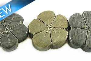 Gray wooden flower 15mm bead
