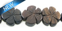 Tiger ebony flower 15mm bead