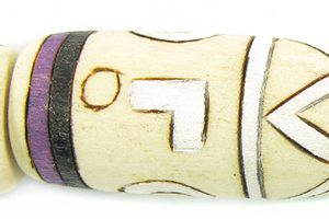 White wood with purple design