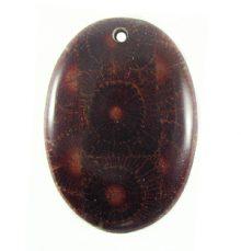 Albutra wood inlay 50mm dark brown oval