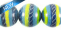 painted wood round 15mm blue swirl