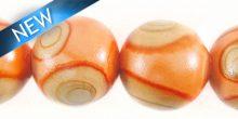 painted wood round 15mm swirl peach