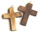 Burnt horn cross w/ ring wholesale pendants