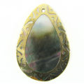 blacklip teardrop 30x45mm carved gold wholesale pendants
