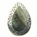 blacklip teardrop 30x45mm carved silver wholesale pendants