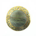 blacklip 30mm round carved gold frame wholesale pendants