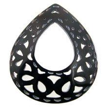 blackpen tearrdrop w/center hole wholesale pendant