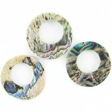 16mm paua round w/ center hole 8mm wholesale pendant