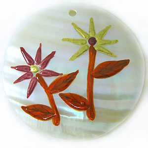 Makabibi 50mm Round Pendants With Peach/Gold Flower