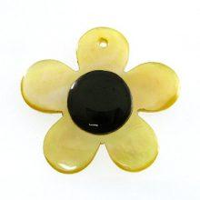 MOP, small flower blacktab dot 25mm wholesale pendant