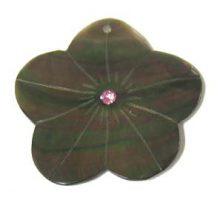 Blacklip 35mm flower w/ purple crystal wholesale