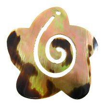 Brownlip flower w/ spiral cut wholesale pendant