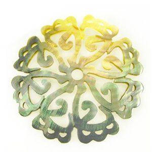 Blacklip carved 8-petal 50mm wholesale pendant