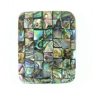 Paua black block rectangle 40mm wholesale