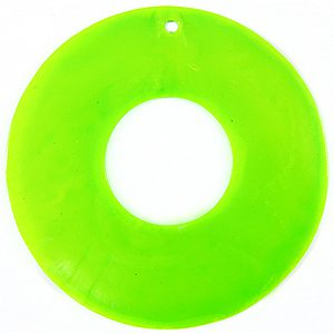Capiz donut 46mm neon green wholesale pendant