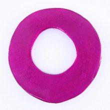 Capiz shell irregular donut 50mm - Magenta