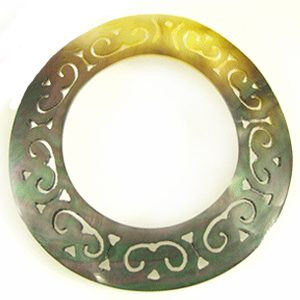 """Carved Round """"O-Ring"""" Blacklip Shell Pendant"""