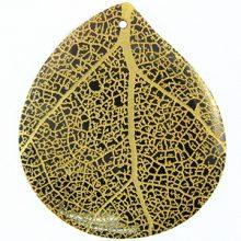 Teardrop Black Pen Shell Gold Leaf Design Laser Engraved Pendant