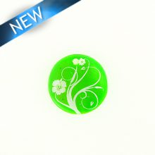 Makabibi Round 20mm Flower Laser Design Green
