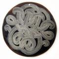 Black Pen Shell Flower Design Laser Engraved Pendant