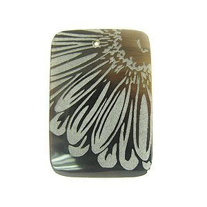 Laser Etched Black tab Rectangular Shell Pendant