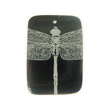 Laser Etched Rectangular Shell Pendants Dragonfly