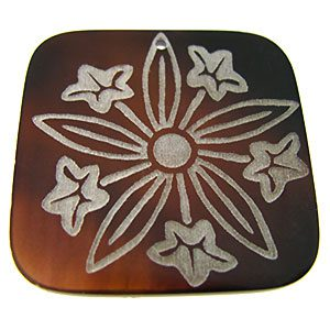"""Laser-etched Square """"Flare daffodils"""" Tab Shell Pendant"""