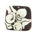 Burnt Brown Laser-etched Square Tab Shell Pendant