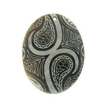 Laser Etched Black tab Oval Shell Pendant