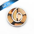 Brownip 30mm round pendant w/ metal frame and coco back